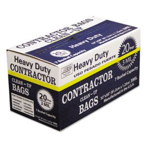 60 Gallon Black Contractor Garbage Bags, 32x50, 3mil, 20 Bags (WBI186470)