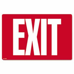 Cosco Glow-in-the-Dark Safety Sign, Exit, 12 x 8, Red (COS098052)