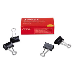 "Universal Medium Steel Wire Binder Clips, 5/8"" Capacity, 12 Clips (UNV10210)"