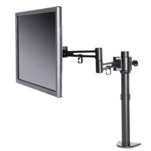 Alera Pole-Mounted Monitor Arm, Single Monitor, Black (ALEAEMA1B)