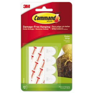 Command Poster Strips, Removable, White, 12 Strips (MMM17024ES)