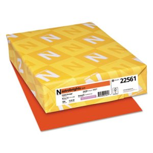 Wausau Colored Paper, 24 lb, 8-1/2 x 11, Orbit Orange, 500 Sheets (WAU22561)