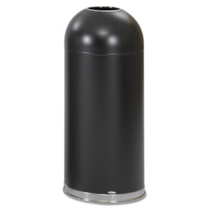 Safco Open-Top Dome Receptacle, Round, Steel, 15 gal, Black (SAF9639BL)