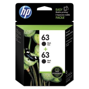HP 63, (T0A53AN) Black Original Ink Cartridge, 2/Pack (HEWT0A53AN)