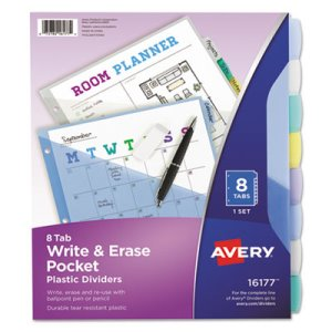 Avery Translucent Multicolor Write-On Dividers, Letter, 8 Tabs (AVE16177)
