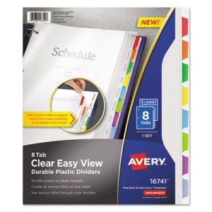 Avery Clear View Dividers with Sheet Protector, Letter, 8 Dividers (AVE16741)