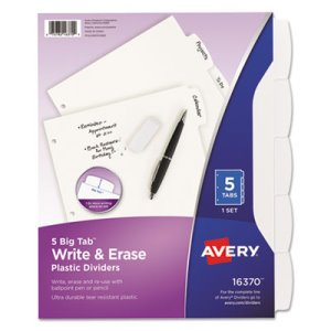 Avery White Write-On Big Tab Dividers, 5-Tab, 11 x 8 1/2, 1/Set (AVE16370)