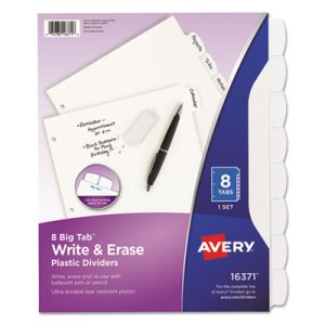 Avery White Write-On Big Tab Dividers, 8-Tab, 11 x 8 1/2, 1/Set (AVE16371)