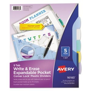 Avery Translucent Multicolor Write-On Dividers, 11 x 8-1/2, 5 Tabs (AVE16183)