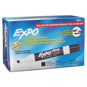 Expo Low Odor Dry Erase Whiteboard Markers, Black, 12 Markers (SAN80001)