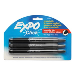 Expo Click Dry Erase Markers, Fine Tip, Black, 3 per Pack (SAN1751665)