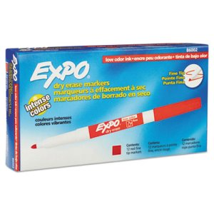 Expo Low Odor Dry Erase Marker, Fine Point, Red, Dozen (SAN86002)