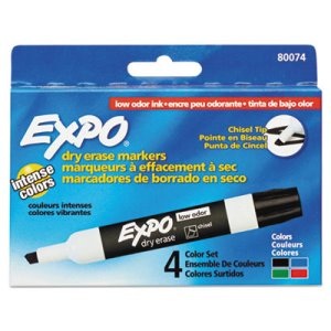 Expo Low Odor Dry-Erase Markers, Bold Chisel Tip, Assorted, 4 Markers (SAN80074)