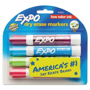 Expo Low Odor Dry Erase Marker, Chisel Tip, Classic Colors, 4/Set (SAN81029)