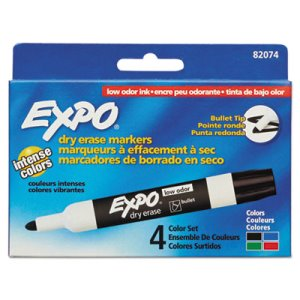 Expo Low Odor Dry Erase Markers, Bullet Tip, Assorted, 4/Set (SAN82074)