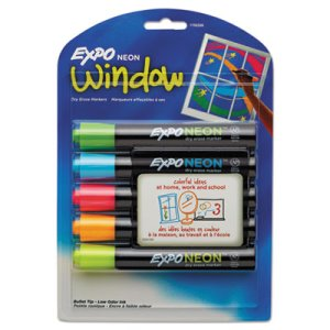 Expo Neon Dry Erase Marker, Bullet Tip, Assorted, 5 per Set (SAN1752226)