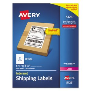 Avery 5126 White Internet Shipping Labels, 200 Labels (AVE5126)