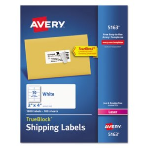"Avery 5163 White Shipping Labels, 2"" x 4"", 1000 Labels (AVE5163)"
