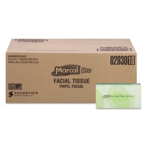 Marcal 2930 Pro 2-Ply Facial Tissues, 100% recycled content, 30 Boxes (MRC2930)