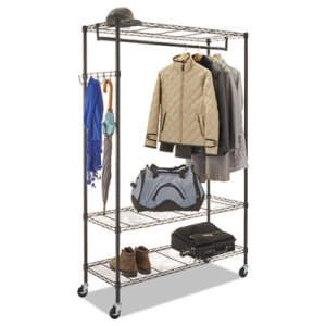 Alera Wire Shelving Stand-Alone Coat Rack with Casters, Black (ALEGR364818BL)