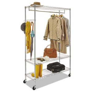 Alera Wire Shelving Stand Alone Coat Rack with Casters, Silver (ALEGR364818SR)