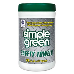 Simple Green Citrus Scented Safety Towels, 10 x 11 3/4, 75/Canister (SMP13351CT)