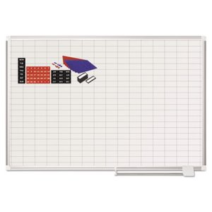 "MasterVision Grid Planning Board w/ Accessories, 1x2"" Grid, 48x36, White/Silver (BVCMA0592830A)"