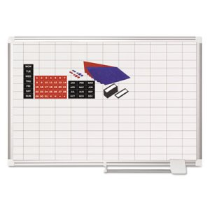 MasterVision Grid Planning Board w/ Accessories, 36 x 24, White (BVCMA0392830A)