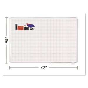 "MasterVision Grid Planning Board w/ Accessories, 1x2"" Grid, 72 x 48, White/Silver (BVCMA2792830A)"