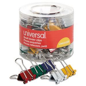 "Universal Small Binder Clips, 3/4"" Wide, Assorted Colors, 40 Clips (UNV31028)"