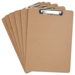 "Universal Clipboard, 1/2"" Capacity, Holds 8-1/2w x 12h, Brown, 6/Pack (UNV05562)"