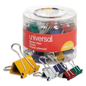 Universal Binder Clips, Mini/Small/Medium, Assorted Colors, 30 Clips (UNV31026)