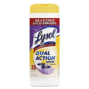 Lysol Dual Action Disinfecting Wipes, Citrus, 12 Canisters (REC 81143)