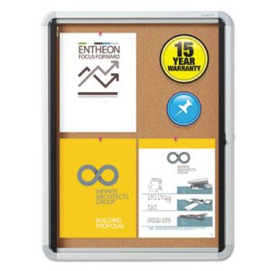 Enclosed Cork Bulletin Board w/Swing Door, Silver Aluminum Frame (QRTEIHC2721)