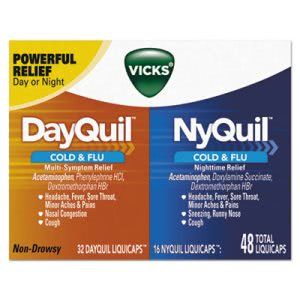 Vicks DayQuil/NyQuil Cold & Flu Combo Pack, 32 Day/16 Night, 12 Packs (PGC01452)