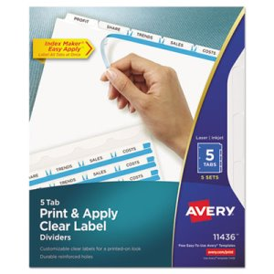 Avery Index Maker Clear Label Dividers, 5-Tab, Letter, Wht, 5 Sets/Pk (AVE11436)