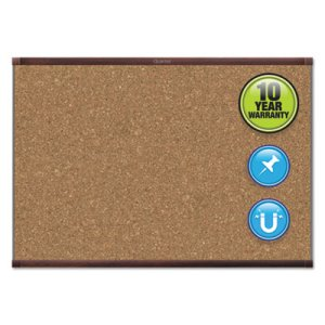 Quartet Prestige 2 Magnetic Cork Bulletin Board, 72 x 48, Mahogany Frame (QRTMC247MP2)