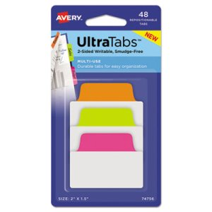 Avery Repositionable Tabs, 2 x 1.5, Assorted Neon Colors, 48 Tabs (AVE74756)