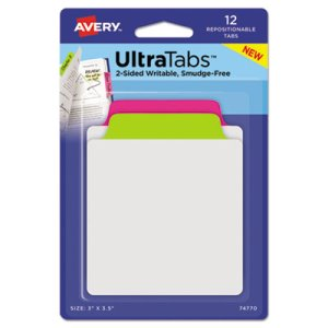 Avery Repositionable Tabs, 3 x 3.5, Neon: Green, Pink, 12 Tabs (AVE74770)