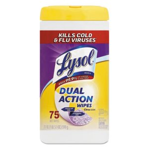 Lysol Dual Action Disinfecting Wipes, Citrus, 6 Canisters (RAC81700CT)