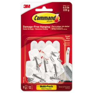Command General Purpose Hooks, Small, 9 Hooks & 12 Strips (MMM170679ES)