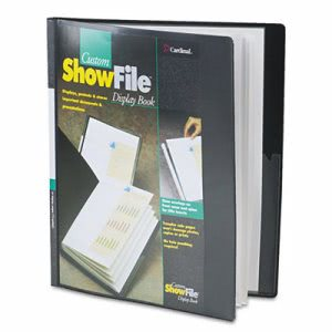 Cardinal ShowFile Display Book w/Custom Cover Pocket, 12 Letter-Size Sleeves, Black (CRD50132)