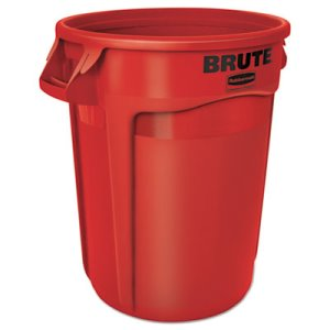 Rubbermaid 2632 Brute 32 Gallon Round Vented Waste Container, Red (RCP 2632 RED)