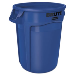 Rubbermaid 2632 Brute Vented 32 Gallon Round Trash Container, Blue (RCP2632BLU)