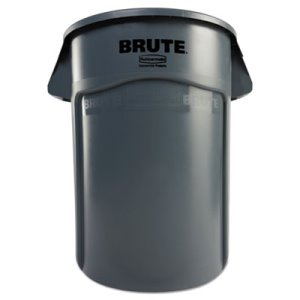 Rubbermaid Brute 44 Gallon Trash Can w/Vent Channels, Gray (RCP264360GY)