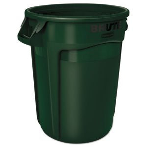 Rubbermaid Brute 32 Gallon Round Vented Trash Can, Green (RCP2632DGR)