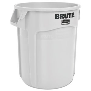 Rubbermaid 2620 Brute Round 20 Gallon Vented Trash Can, White (RCP2620WHI)