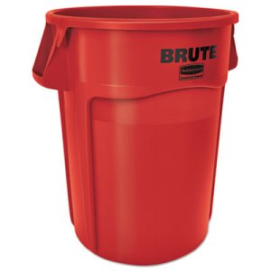 Rubbermaid Commercial Brute Vented Trash Receptacle, Each (RCP264360REDEA)