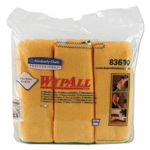 Wypall Microfiber Cleaning Cloths 15.75 x 15.75, Yellow, 24 Cloths (KCC83610CT)
