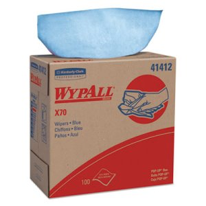Wypall X70 Rags in Pop-Up Box, 1-PLY, Blue, 10 Boxes (KCC41412)